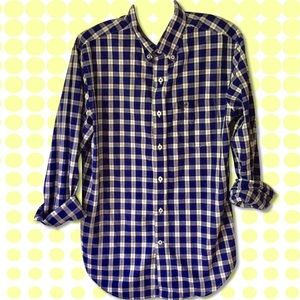 American Eagle Blue Long Sleeve Plaid Shirt